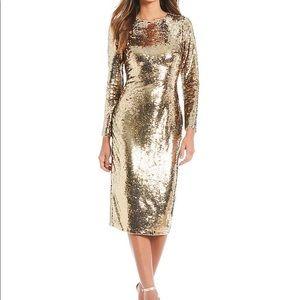 Gianni Binni Zoe metallic sequin midi dress
